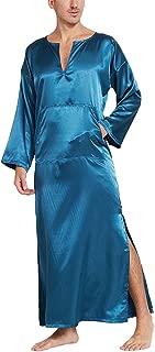 Men's Long Sleeve Satin Sleep Robe Kimono Gown, Pullover Bathrobe for Men