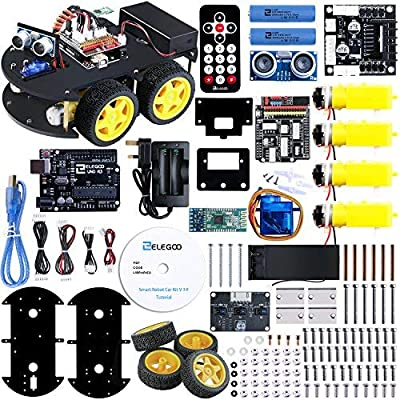 ELEGOO Smart Robot Car Kit V4.0 Compatible with Arduino IDE with UNO R3 Board, Line Tracking Module, Ultrasonic Sensor, IR Module, Intelligent & Educational Toy Car Robotic Kit for Kid Teen Adult