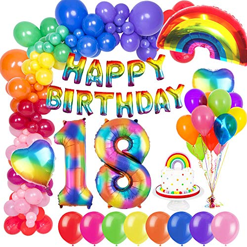 MMTX 18. Geburtstag Dekorationen, Geburtstag Party Deko geburtstagsdeko mit Happy Birthday Ballons Banner, Zahlen Luftballons, Regenbogen Herz Folienballons und Kuchendeckel für 18 Geburtstag mädchen