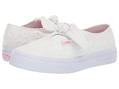 Vans Kids Authentic Knotted (Little Kid/Big Kid) ((Lace Chambray) True White/True White) Girls Shoes