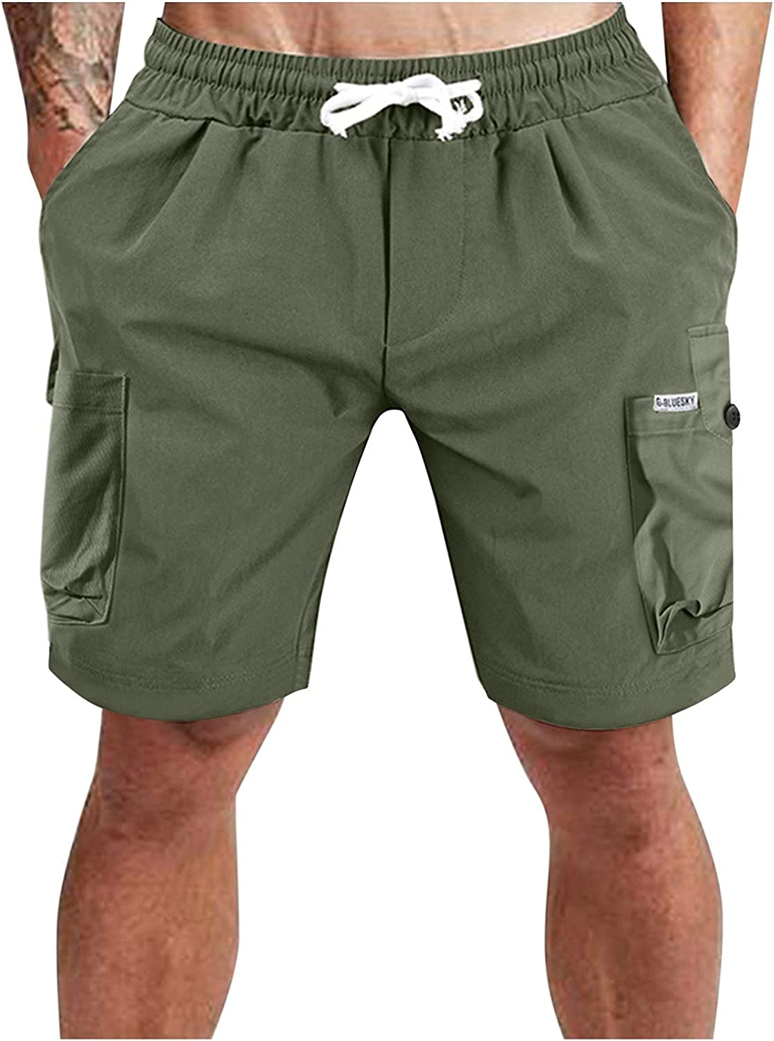 FUNEY Cargo Shorts for Men Relaxed Fit Casual Solid Color Multi Pocket Short Pants Lightweight Summer Cargo Work Shorts