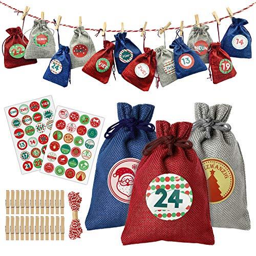 24 Adventskalender zum Befüllen, Adventskalender Tüten zum Befüllen, Jutesäckchen Weihnachten Geschenksäckchen für Kinder, Weihnachtskalender DIY (2 Aufkleber mit 1-24 Adventszahlen, 48 Muster)