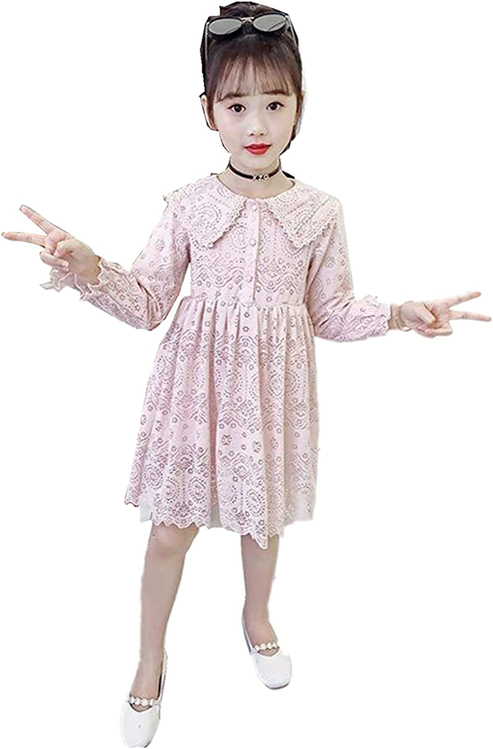 DZdress Kids Special Occasion Lace Flower Girl Dresses Tea Length First Communion Princess Pageant Dress 3/4 Sleeve