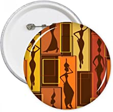 Africa Aboriginal Black Women Art Abstract Round Pins Badge Button Clothing Decoration Gift 5pcs