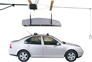 HARKEN Cargo Box Garage Storage Ceiling Hoist | 4 Point System | 4:1 Mechanical Advantage | Easy Lift, Single-Person Operation, Rooftop, Hanger, Pulley, Carrier