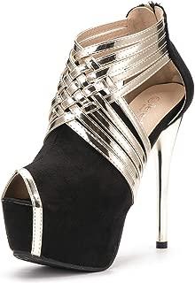 Women's Peep-Toe Platform Stiletto High Heels Dress Sandals
