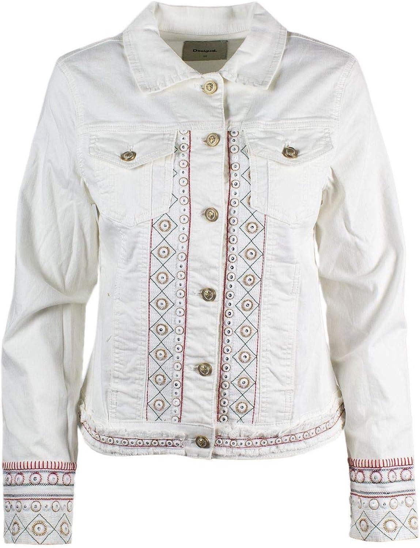 Desigual Women's 19SWEN06WHITE White Cotton Jacket