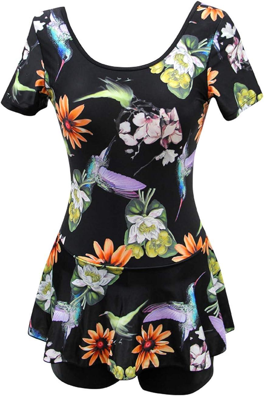 Ecupper Damen Badekleid mit Shorts Blumen Muster Vintage Einteiler Badeanzug Plus Size