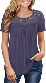 Women's Plus Size Summer Tops Short Sleeve Shirts Lace Pleated Tunic Tops Blouses M-4XL