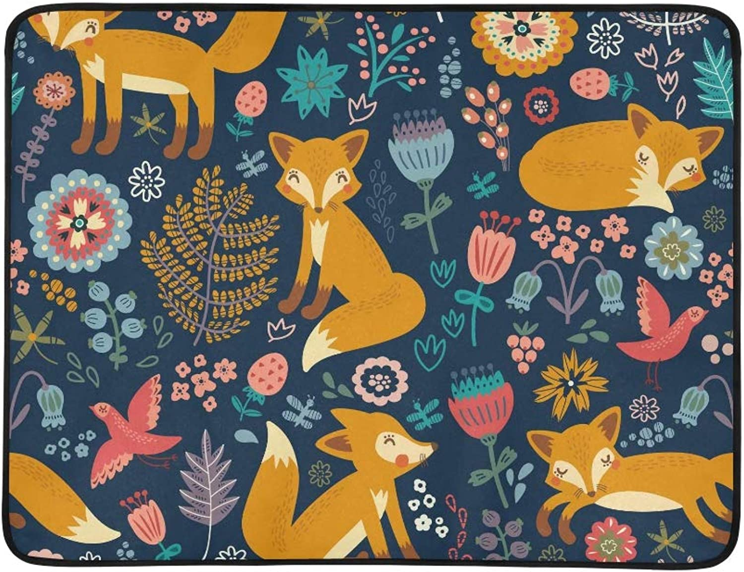 Cute Cartoon Fox Flower Bird Pattern Pattern Portable and Foldable Blanket Mat 60x78 Inch Handy Mat for Camping Picnic Beach Indoor Outdoor Travel