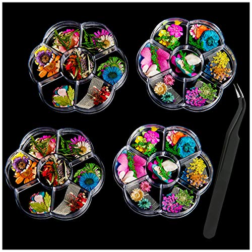 ANPHSIN 4 Boxes Nail Dried Flowers- 48 Colors Mini Natural Real Dry Flowers 3D Applique Nail Art Resin Art Supplies with Tweezers for Nail Decoration Sticker, Fingernails Toenails Nail Tips Manicure