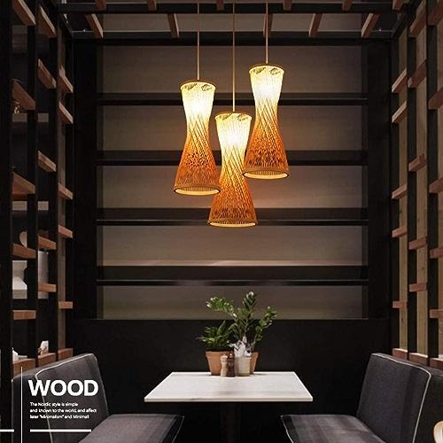 ZY Luminaire suspendu de style rustique rétro en bois de style créatif Loft Bar Lampe suspendue ronde en acrylique suspendu en bambou Vintage Art Salon Salle à hommeger étude décorative éclairage intéri