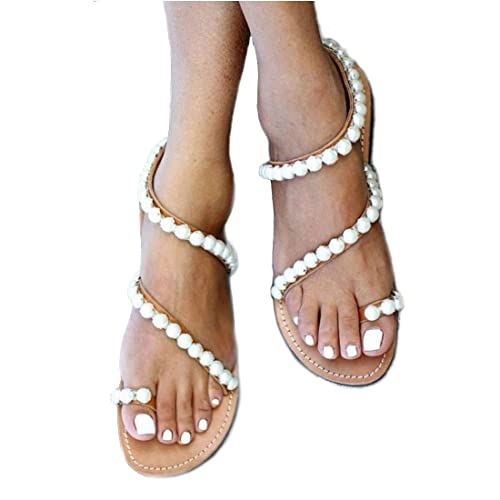 ed7a0f385d390 Hinyyrin Women s Cross Tie Pearls Toe Ring Flat Sandals Brown
