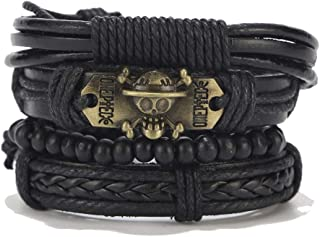 Punk Leather Bracelet Men's and Women's Wood Bead Cuff Bracelet Braided Adjustable Bracelet