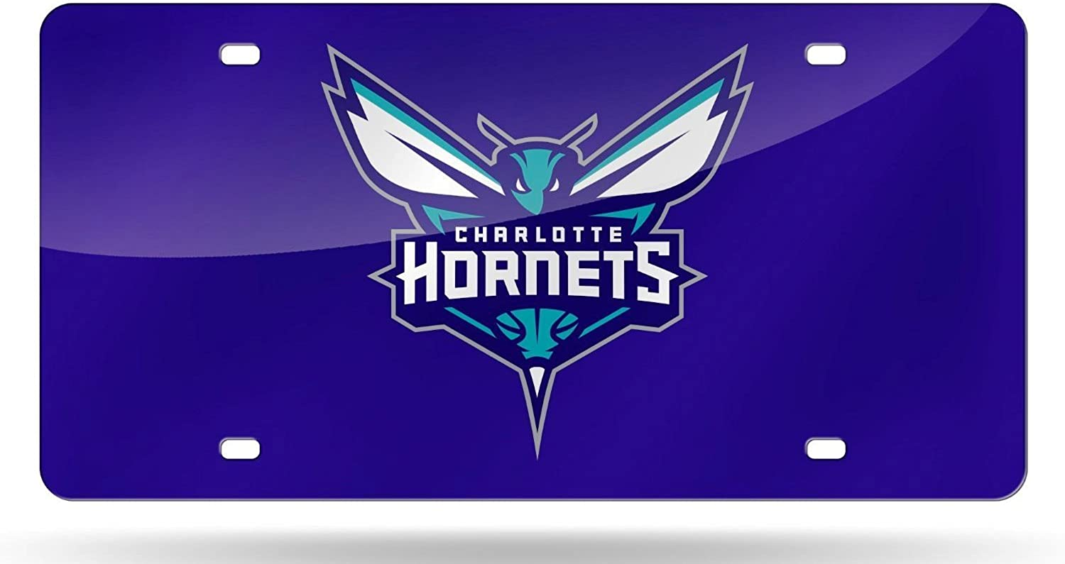 Charlotte Hornets blueE Deluxe Laser Cut Acrylic Inlaid License Plate Tag Basketball