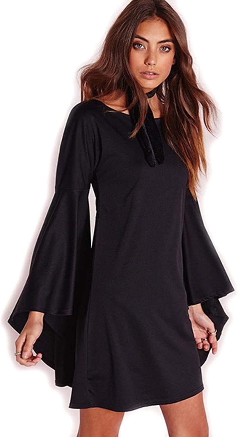 Black Solid color Sexy Short Mini Dress with Long Flared Bell Sleeves, Small