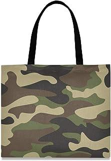 DOSHINE Tragetasche aus Segeltuch, abstrakte Camouflage, wiederverwendbar, Einkaufstasche, Schulranzen, Handtasche für Damen, Mädchen