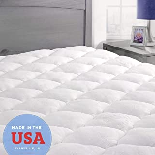 ExceptionalSheets Queen Mattress Pad with Fitted Skirt - Cooling Mattress Pad with Extra Plush Rayon from Bamboo Topper - Hypoallergenic Bamboo Mattress Pad - Made in The USA, Queen