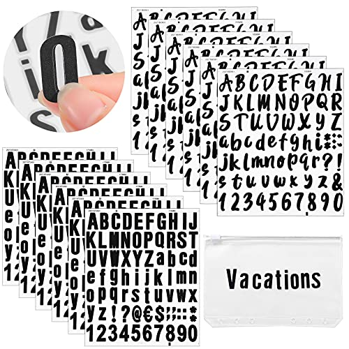 894 Pieces 12 Sheets Self-Adhesive Vinyl Sticker Cursive Number Alphabet Stickers Sticky Letters Decals for Sign, Notebook, Kitchen, Mailbox, Window, Door, Business, Container, Address, Black, 1 Inch