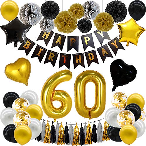 Schwarz Gold Deko Geburtstag,60. Geburtstag Luftballons,Happy Birthday Banner Gold,60 Geburtstag Deko Gold,Schwarz Gold Happy Birthday,Konfetti Luftballons Gold