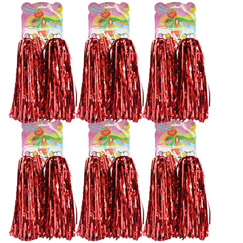 hatisan 12er Pack Cheerleading Pom Poms - Ultra Shining Pom Pom Cheerleader Puschel Tanzpuschel Party Sport Fußball Zubehör (Rot)