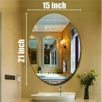 Creative Arts n Frames Oval Shape 15 x 21 inch Wall Mirror for Bathroom, Bedroom, Drawing Room and Wash Basin (Mirror, 15 x 21 inch)