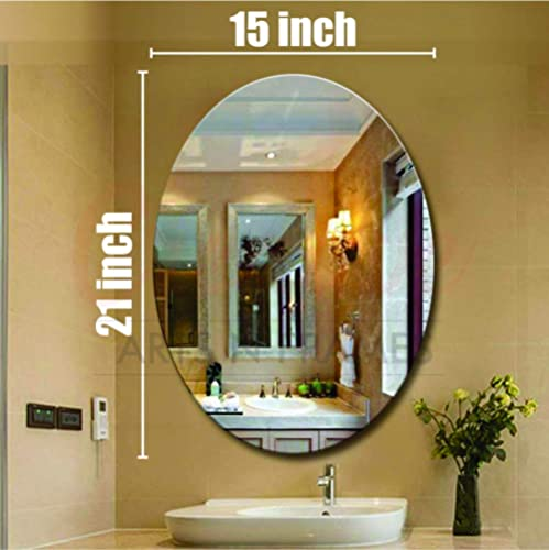 Creative Arts n Frames Oval Shape 15 x 21 inch Wall Mirror for Bathroom, Bedroom, Drawing Room and Wash Basin (Mirror...