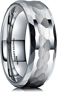 King Will Hammer Men 8mm Tungsten Carbide Ring Multi-Faceted Hammered Polished Finish Wedding Band