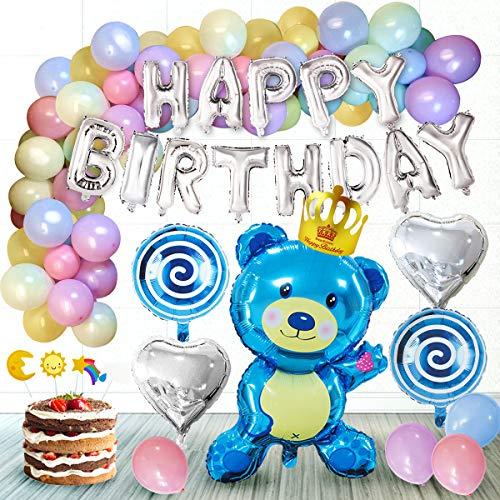 TINGERIA® Geburtstagsdeko Junge, Kinder Geburtstag Dekoration Set inkl. Happy Birthday Girlande, Folienballons Bär Bonbon Herz, Macaron Latex Luftballons, Cake Topper, Geburtstagskrone