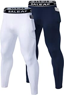 BALEAF Men's Sports Compression Pants Basketball Tights Running Leggings with Pockets Pack of 2