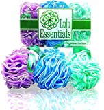Lulu Essentials Premium Quality Large Loofah ~ (6 pack x 60 grams) Cleansing Luffah Pouf for Bath and Shower ~ Best Mesh Exfoliating Scrubbing Puff Sponge ~ Multi-Colour