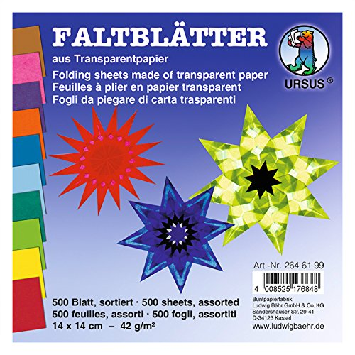 Ursus 2646199 - Faltblätter Transparentpapier, ca. 14 x 14 cm, 42 g/qm, 500 Blatt, sortiert in 10 Farben