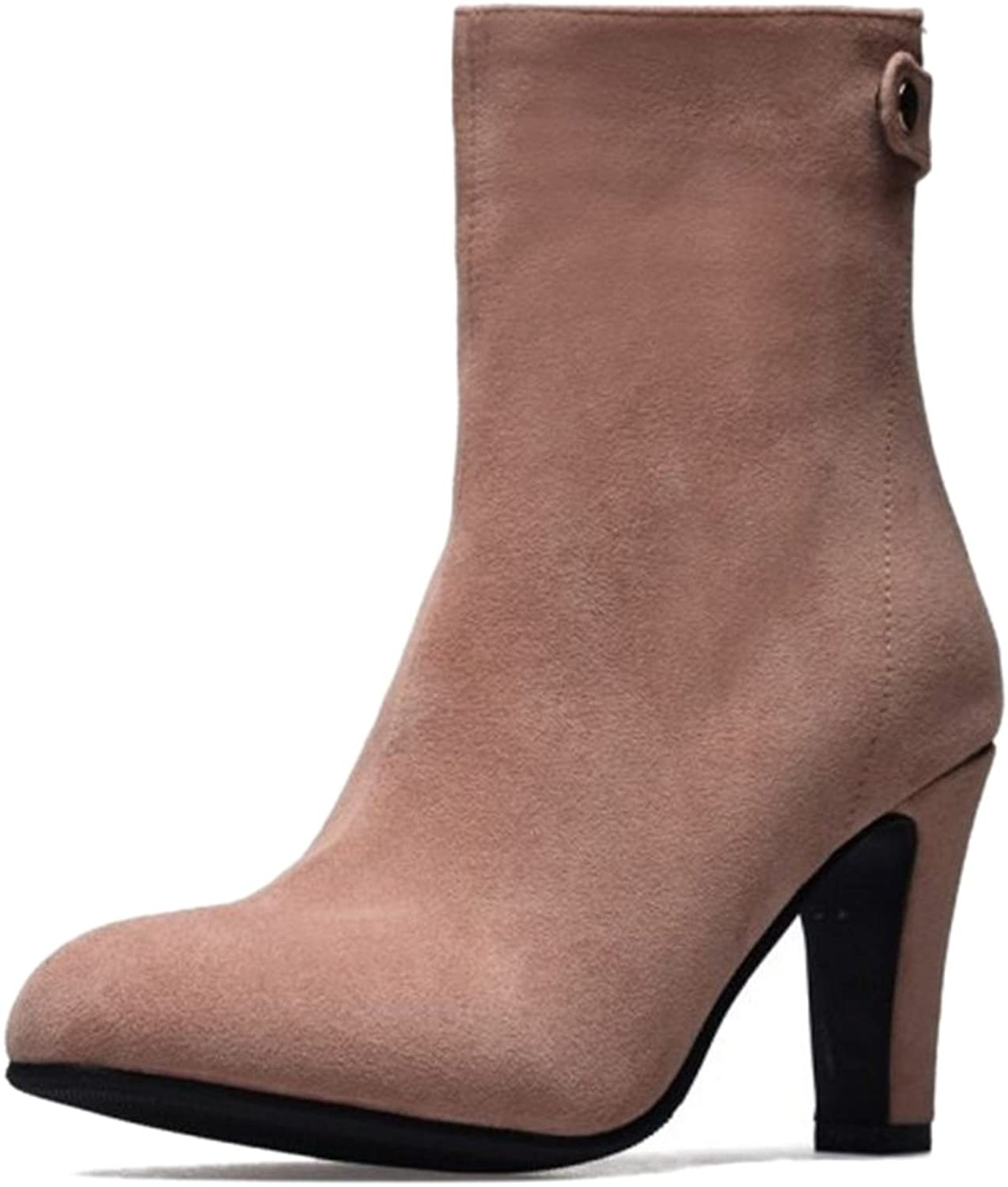CUTEHEELS Fashion Ankle Boots with High Block Heel and Pointed Toe with Small Plus Black