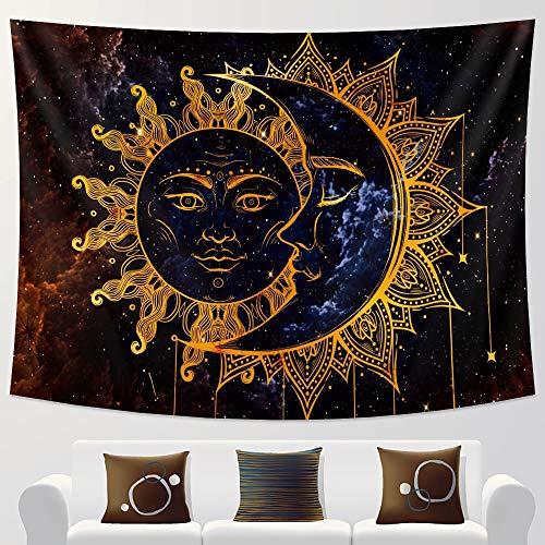KHKJ Blanco y Negro Luna Mandala Tapiz decoración Colgante de Pared Dormitorio Escena psicodélica luz de Las Estrellas decoración de Arte A22 200x180cm