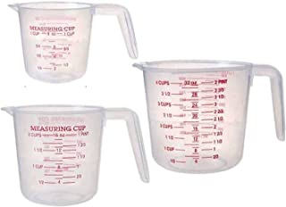 أكواب قياس بلاستيكية من سيم، أدوات قياس للحاويات السائلة مع ميزان وفوهة شرب مع مل مجموعة من 3 قطع، 250 مل/500 مل/1000 مل