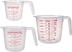 Saim Plastic Measuring Cups, Liquid Container Baking Measuring Tools with Scale and Spout with Ml Oz Set of 3 Piece, 250m...