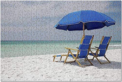 GZFENG Seaside Florida - Sillas Azules en la Playa 9025131 (Rompecabezas para Adultos) 1000 Piezas