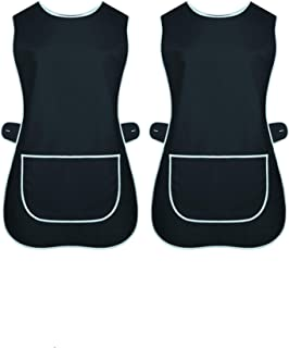 INDX-Clothing Paquete de 2 delantal de tabardo para mujer, bolsillo de limpieza