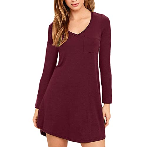 595505a8bf16a7 Eanklosco Women Casual Dress V Neck Long Sleeve T Shirt Dress with Pockets