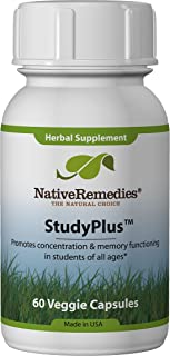 Native Remedies StudyPlus - All Natural Herbal Supplement Promotes Concentration and Memory Function in Students of All Ag...