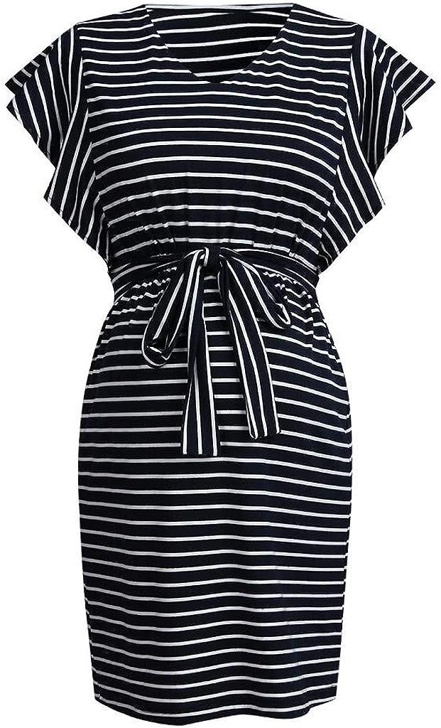 Pacoco Women Maternity V Neck Dress Pregnant Stripe Regular discount Tulsa Mall Summer Mini