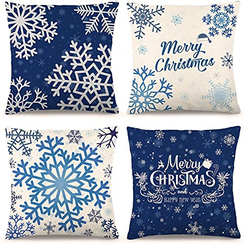 CDWERD Blue Christmas Decorations Blue Christmas Pillow Covers 18×18 Inches Set of 4 Snowflake Merry Christmas Pillow Cases Cotton Linen Christmas Decorative Pillowcases Sofa Cover