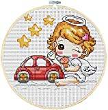 Maydear Cross Stitch Kits Stamped Full Range of Embroidery Starter Kits for Beginners DIY 11CT 3 Strands -The car Girl 8.7×8.7(inch)