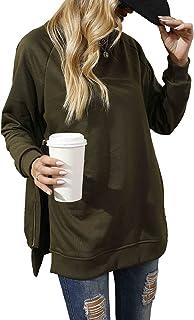 Sponsored Ad – iChunhua Casual Womens Long Sleeve Crewneck Sweatshirt Plain Side Zipper Tunic Tops