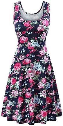 Women Floral Tank Dresses,Teen Girls Sleeveless Swing Boho Short Dresses Ladies Summer Beach Dresses Mini Dresses