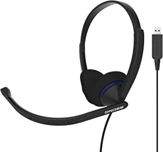 Koss CS200 USB Double-Sided On-Ear Communication Headset, Noise-Cancelling Electret Microphone, Flexible Microphone Arm, Wired with USB Plug, Black