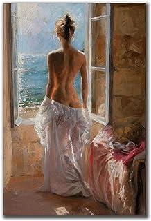 Väggdekoration kvinnan vid fönstret canvasmålning affisch och tryck väggkonst bilder för vardagsrum 60 x 80 cm 1 PS ingen ram