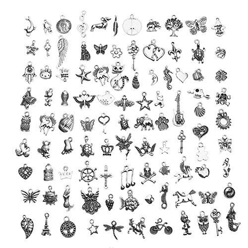 CCINEE 100 pezzi assortiti antichi ciondoli in argento per la creazione di gioielli e artigianato