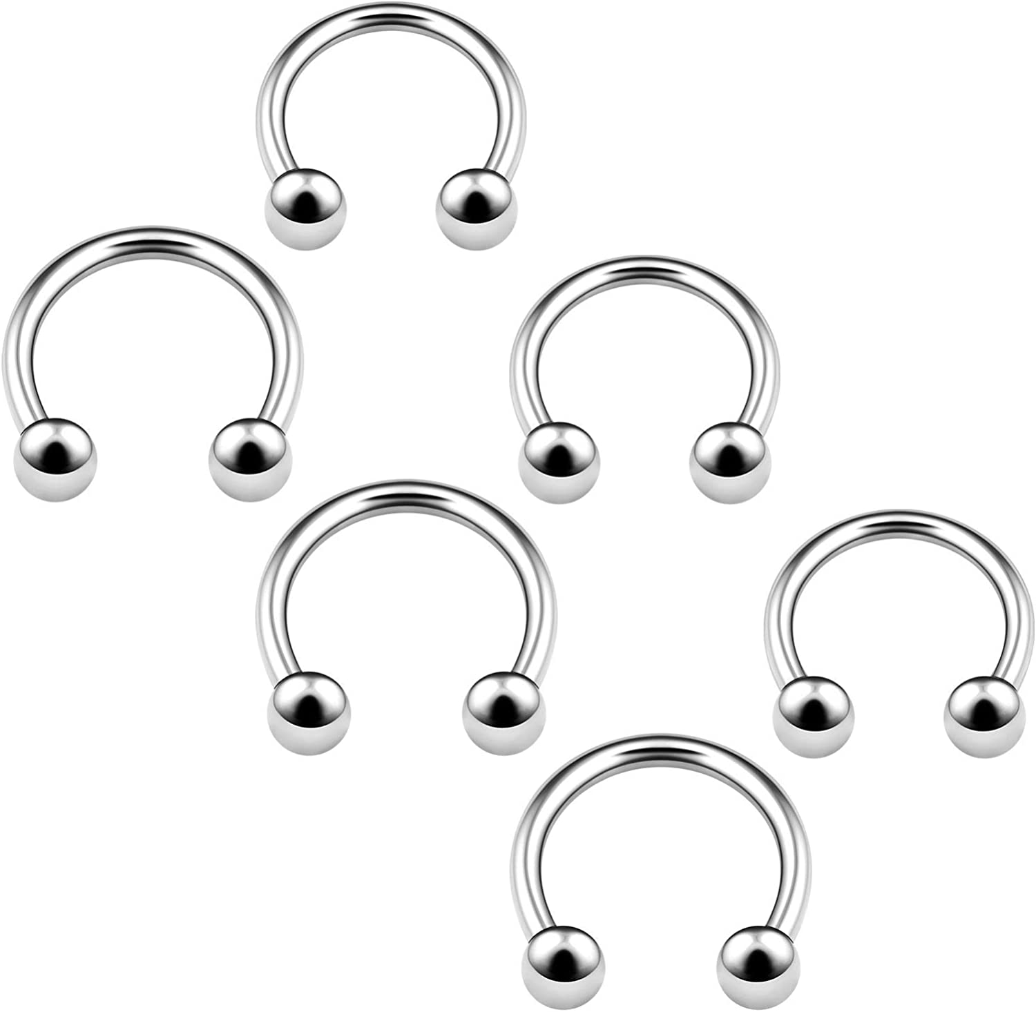 6PCS Horseshoe Earrings 3mm Ball Cartilage Septum Nose Lip Earrings Tragus Piercing Jewelry More Colors and Size