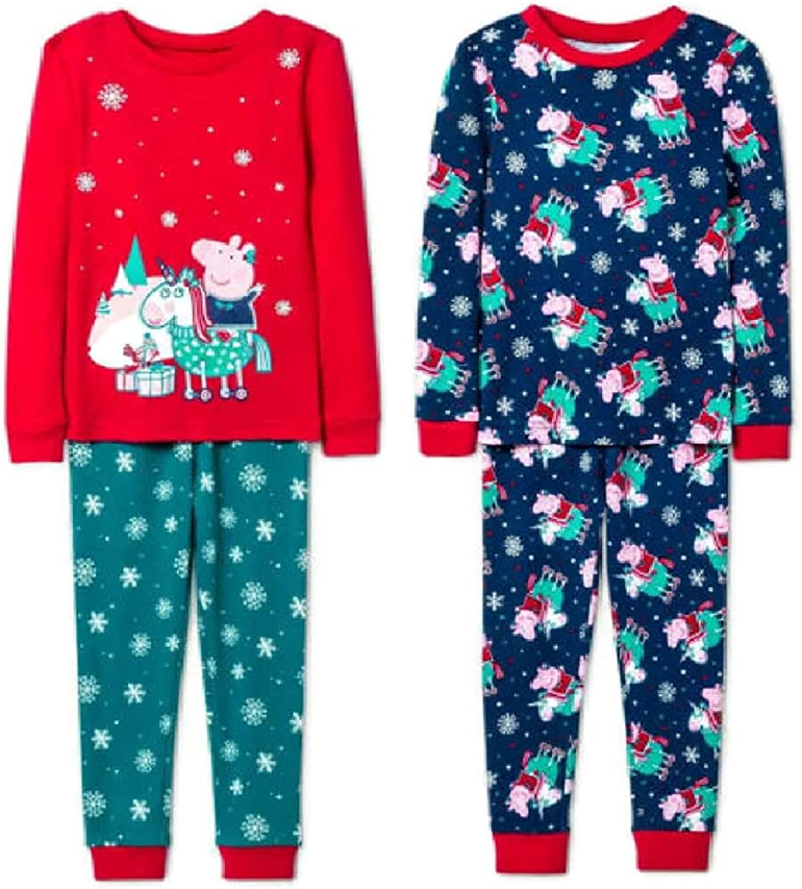 P Pig 4 Piece Long Sleeve Holiday PJ Set- Toddler 2T